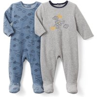 Pack of 2 Printed Velour Sleepsuits, Birth-3 Years
