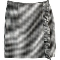 shop for Gingham Straight Mini Skirt with Ruffles at Shopo