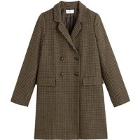 Long Buttoned Checked Coat