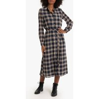 shop for Checked Buttoned Midaxi Dress with Tie-Waist and Long Sleeves at Shopo