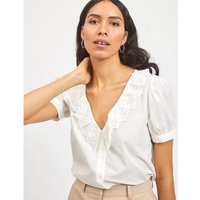 Embroidered Cotton V-Neck Blouse.