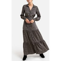shop for Smocked Buttoned Maxi Dress with Tie-Waist at Shopo