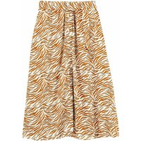 shop for Buttoned Flared Midi Skirt in Zebra Print at Shopo