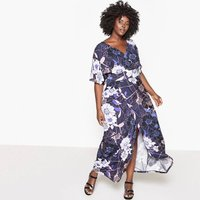 Floral Printed Dress with Low-Cut Front/Back