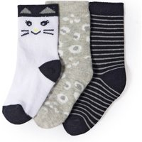 Pack of 3 Cat Theme Socks, 1 Month-3 Years