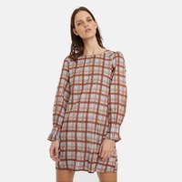 shop for Checked Mini Dress with Long Sleeves at Shopo