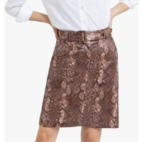 Faux Leather Straight Mini Skirt in Snake Print