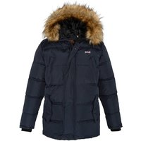 Airfur Long Padded Jacket with Faux Fur Hood and Pockets