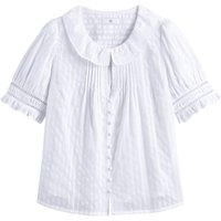 Cotton Dobby Shirt with Peter Pan Collar and Short Sleeves