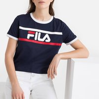 Ashley Cropped Cotton Logo Print T-shirt