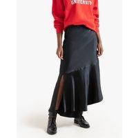 shop for Asymmetrical Maxi Slip Skirt in Satin with Ruffled Hem at Shopo