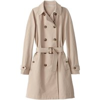 Cotton Mix Mid-Length Trench Coat with Double-Breasted Buttons and Pockets