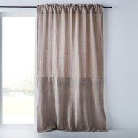 Aasta Dual Fabric Single Curtain Panel in Linen/Velvet