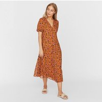 Printed Smock Midi Dress with V-Neck and Short Sleeves