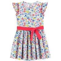 Floral Print Cotton Dress with Short Sleeves, 3-12 Years