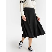 Plain Flared Midi Skirt