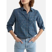 Metallic Checked Cotton Shirt in Regular Fit with Long Sleeves.