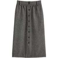 Tweed Buttoned Midi Skirt