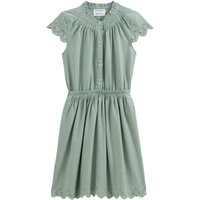 Embroidered Cotton Knee-Length Dress with Short Sleeves