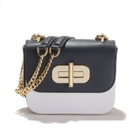 Two-tone Leather Bag With Three-tone/gold Details