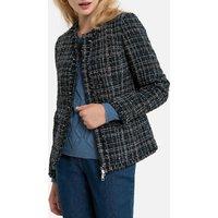 Short Woven Tweed Jacket with Zip Fastening