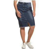 Denim Skirt with Side Stripe