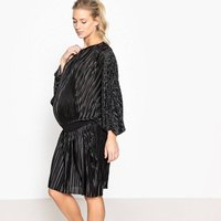 Pleated Maternity Dress with Elasticated Waist