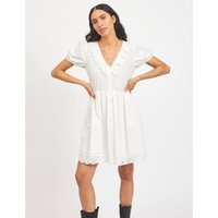 Embroidered Cotton Mini Dress with V-Neck.