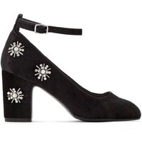 Heeled Shoes with Diamante and Bead Flowers
