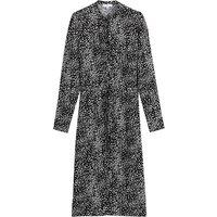 shop for Polka Dot Midi Shirt Dress with Crew-Neck and Long Sleeves at Shopo