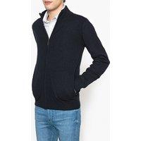 Wool Blend Zip Up Cardigan