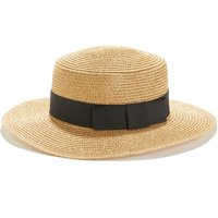 Shiny Straw Canotier Hat