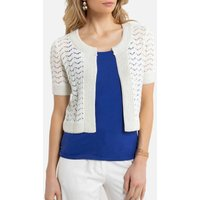 Short Openwork Bolero with Crew-Neck