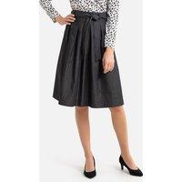 Lightweight Denim Full Skirt in Knee Length