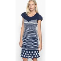 Printed Pleated Dress with Butterfly Sleeves