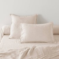 Washed Linen Plain Pillowcase or Bolster Case
