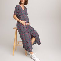 Floral Midaxi Maternity Dress with Short Sleeves