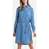 shop for Denim Mini Shirt Dress with Tie-Waist and Long Sleeves at Shopo