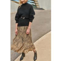 Animal Print Ruffled Midaxi Skirt