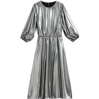 shop for Metallic Midi Dress with Puff Sleeves at Shopo