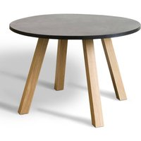 JACOB Contemporary Round Oak and Resin Table with Reversible Base (Seats 6)