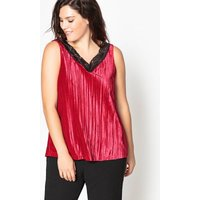 Velour Sleeveless Top with Lace Details