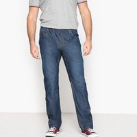 Straight 5-Pocket Jeans with Elasticated Waist