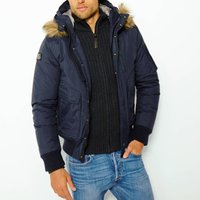 Short Winter Jacket with Faux Fur Hood and Pockets