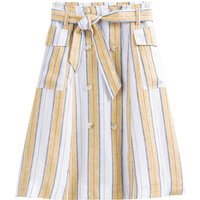 Striped Linen Trench Skirt in Knee-Length with Pockets and Tie-Waist