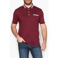 Short-Sleeved Polo Shirt with Contrast Stripes and Print