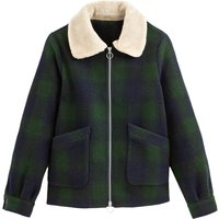 Checked Aviator Jacket with Faux Sheepskin Collar
