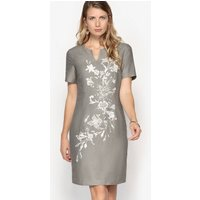 Linen Shift Dress with Floral Print