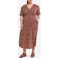 Button-Through Maxi Dress in Floral Print Cotton