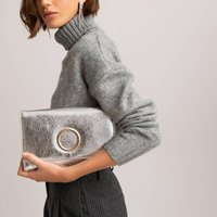 Metallic Clutch Bag with Chain Shoulder Strap